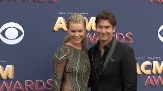 Tegan Marie, Rebecca Romijn, Jerry O Connell at 53rd Academy of Country Music Awards Red carpet