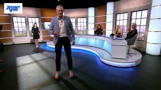 Jeremy Vine tries to walk in high heels