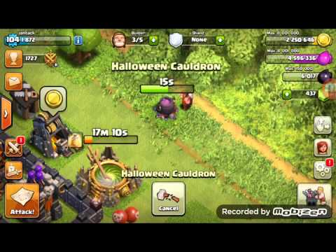 Open the Halloween cauldron clash of clans