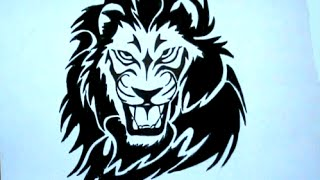How to Draw Tribal tattoo Lion Stencil Drawing