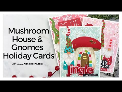 Mushroom House & Gnomes Holiday Cards (Simon Says Stamp)