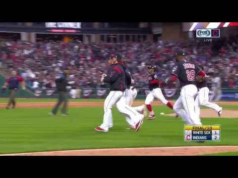 Cleveland Indians celebrate walk-off victory over White Sox in extra-inning home opener