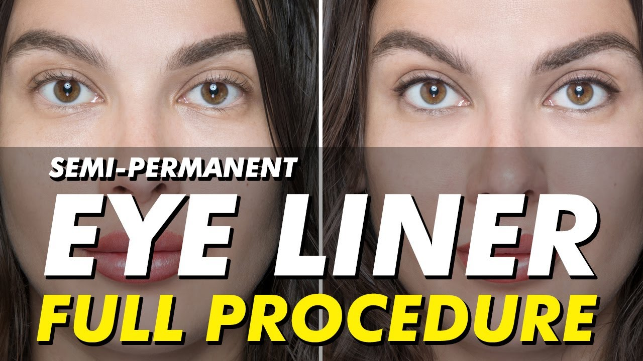semi-permanent eyeliner tattoo | permanent makeup before & after | full  procedure | eye design ny