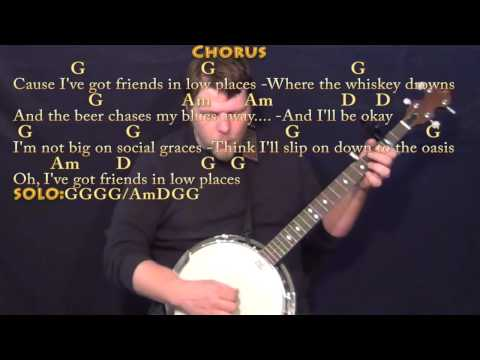 Friends in Low Places - Banjo Cover Lesson with Chords/Lyrics - Capo 2nd