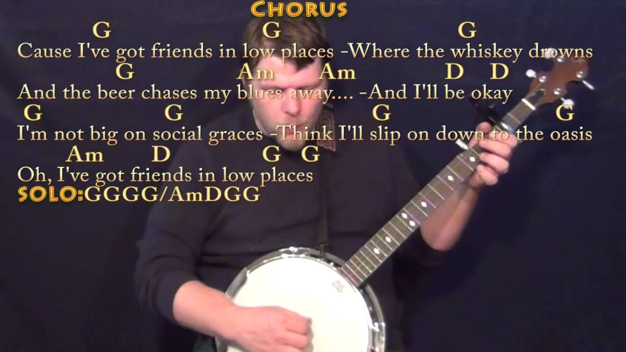 Friends In Low Places Banjo Cover Lesson With Chordslyrics Capo