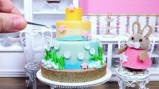 Miniature Edible Ocean Cake - Seaside Beach Cake ft MiniBunny - Mini Food ASMR