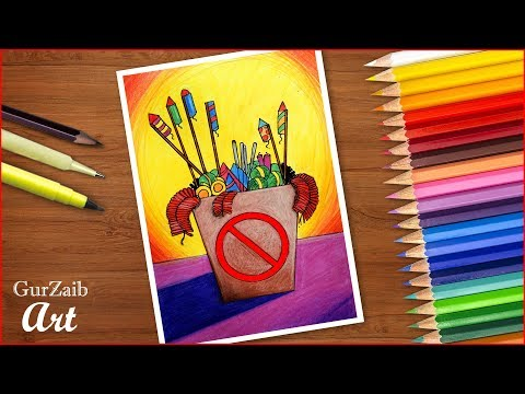 how-to-draw-say-no-to-crackers-drawing-||-pollution-free-diwali-poster---step-by-step-tutorial