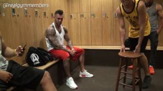 Real Gym members mens locker room getting ready for shirtless live gym cam after hours