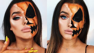 HALF MELTED PUMPKIN HALLOWEEN MAKE UP! | Rachel Leary