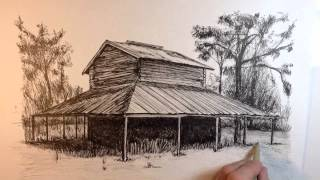 Peter Paul Lividini Time Lapse Ink Drawing Of A Tobacco Shed.