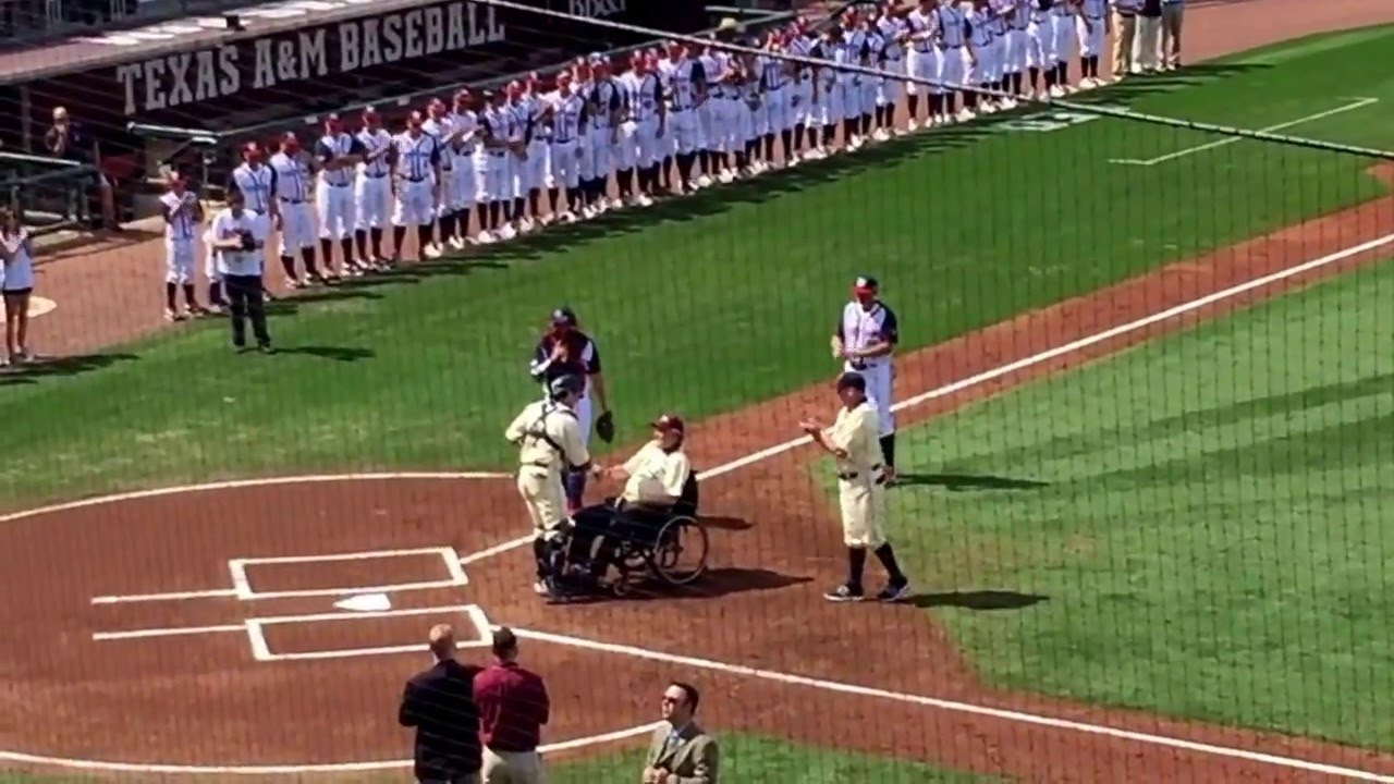 President George H W Bush Throwing Out First Pitch At Yale Vs Tamu