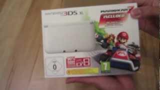 Nintendo 3DS XL White Bundle Mario Kart 7 Unboxing video / review