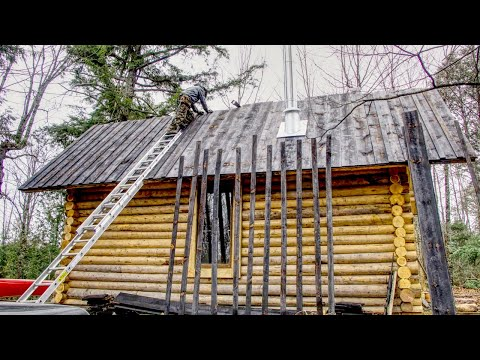 Charred Plank Roof | How to Build a Cheap Off Grid Log Cabin, Ep4
