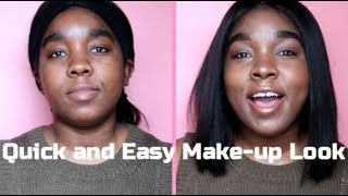 HOW TO: Quick and Easy Make-up Look NO FOUNDATION| Black Girl and Beginner Friendly