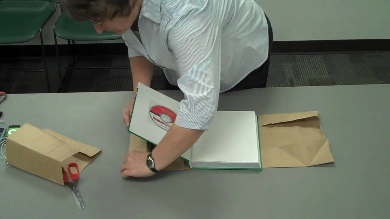 Cover Book With Brown Paper Bag : Paper bag text book cover quot how to youtube
