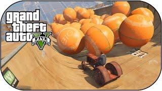 Race Against The Huge Orange Balls Challenge! (gta 5 Crazy Mega Ramp Mods)