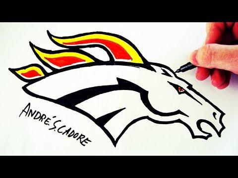 Como Desenhar a logo do Denver Broncos - (How to Draw Denver Broncos logo) - NFL LOGOS #6