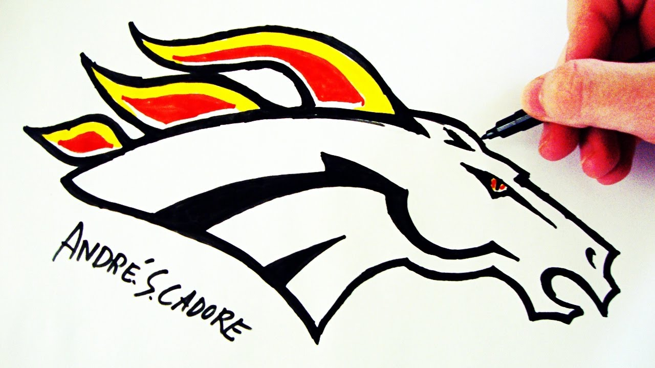 como desenhar a logo do denver broncos how to draw
