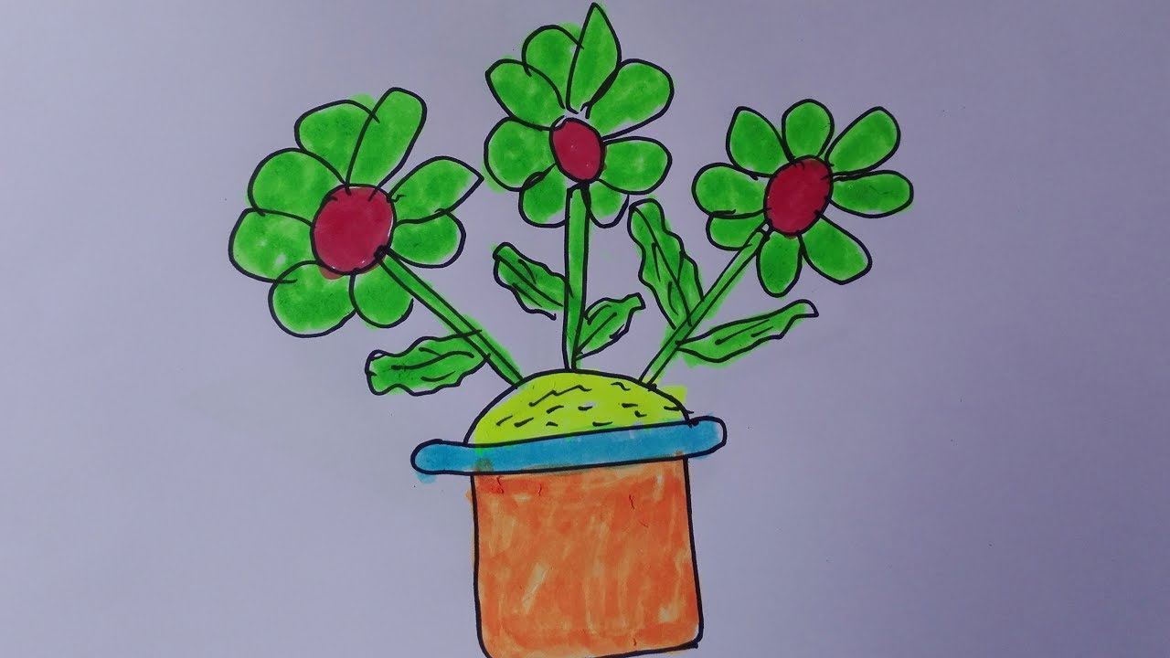 how to draw a flower pot flower pot drawing with colour flower pot