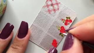 Adesivos de unhas na caixa de leite: Passo a  Passo decoração em clima de natal ,flores vermelhas