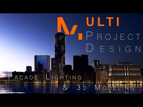 Realistic 3D Night Render with Facade Lighting Design