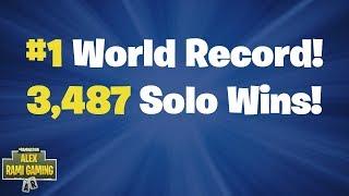 #1 World Record 3,487 Solo Wins   Fortnite Live Stream
