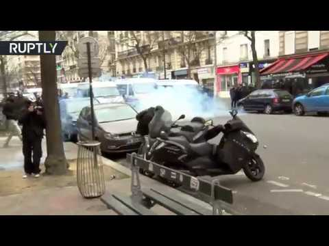 JusticePourTheo: Teargas & firecrackers in Paris streets as students rally against police brutality