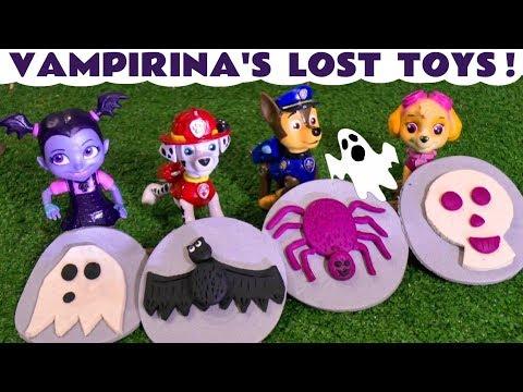 Vampirina and Paw Patrol Play Doh Stop Motion Spooky Halloween Logos with Kids Disney Cars Toys TT4U