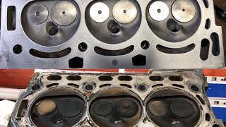 VW Polo 1.2, 3 cylinder BMD engine -  cylinder head reconditioned - burnt valves photos and video