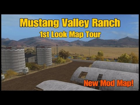 Let's Play Farming Simulator 17 PS4: Mustang Valley Ranch, 1st Look Map Tour (New Mod Map)