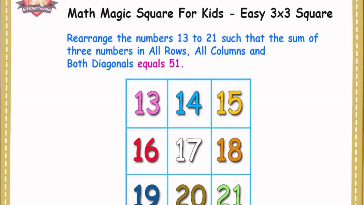 Math Magic Square For Kids - Easy 3x3 Square - www GiftOurPrecious com