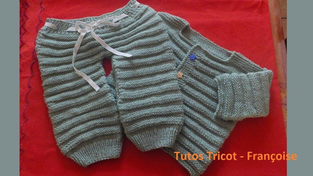 Tuto Tricot Pantalon et Brassière Bébé facile 0/1 mois-1/3 mois-3/6 mois-6/9 mois | Tricot Layette