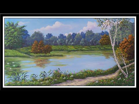Manzara Resmi Nasıl Yapılır, Çizilir | Göl / Su / Ağaç resmi | Acrylic painting / Landscape painting