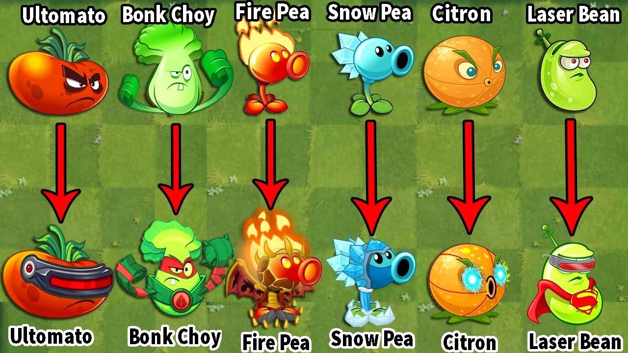PvZ 2 Discovery - Difference Plants China Version Power Up (No Skin & Use Skin)