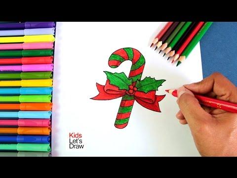 Cómo dibujar un Bastón de Caramelo de Navidad | How to draw ...