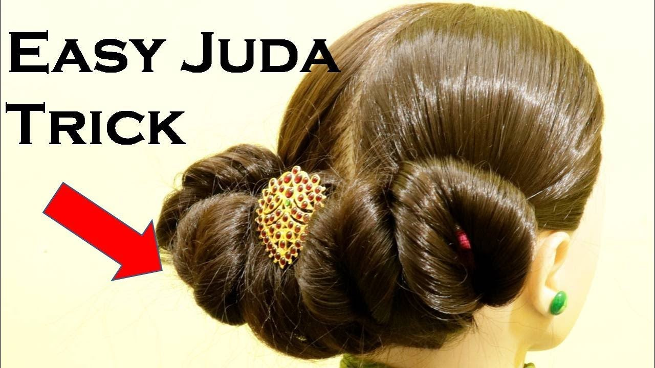 Beautiful Juda Hairstyle For Lehenga Saree Salwar Hairstyle Tutorial Juda Bun Kgs Hairstyles Beauty Top News