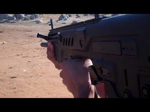 Copy of Tavor SAR Bullpup from IWI Shooting steel with California Legal Tavor .223 5.56