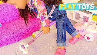 OG Baby Dolls House Cleaning Toys,  Vacuum, Washing Machine Laundry! Silly Childish Dolls Parody !
