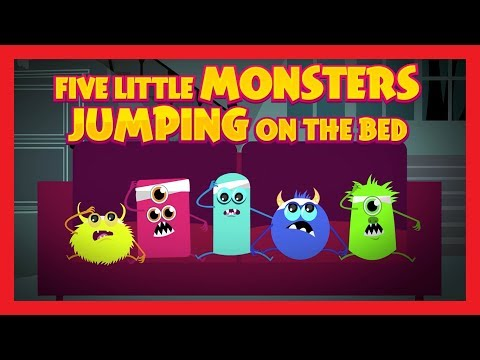 Five Little Monsters Jumping On The Bed  Nursery Rhymes  Kids Hut  Halloween 2017