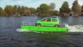 Der Frosch, Auto auf Pontonboot, Auto-Floß, Schwimmauto, mieten, kaufen, selbst bauen