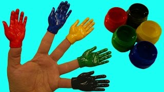 Учим цвета Пальчиковые краски Развивающее видео Для детей Красим ручки Поем песню Семья пальчиков