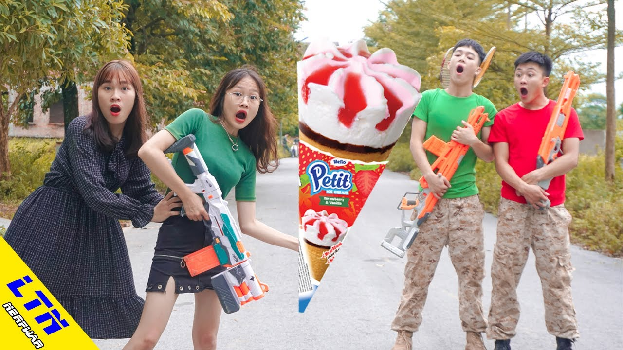 LTN Nerf War  Nerf Guns Ice Cream War Delta Force T Nerf Guns Fight Crime Badminton Battle
