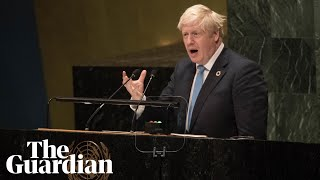 Boris Johnson speaks at UN of limbless chickens, Brexit and hangover cures