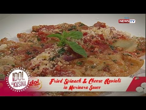 Idol sa Kusina: Fried Spinach & Cheese Ravioli in Marinara sauce