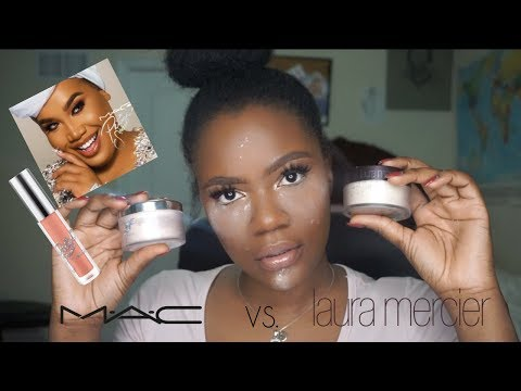 MAC x PATRICK STAR powder review and demo vs. Laura Mercier