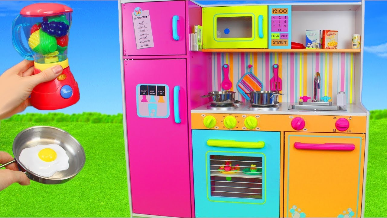 Kitchen Toys Mixer Velcro Cutting Fruits Refrigerator Slime Play Doh Pretend Cooking Unboxing