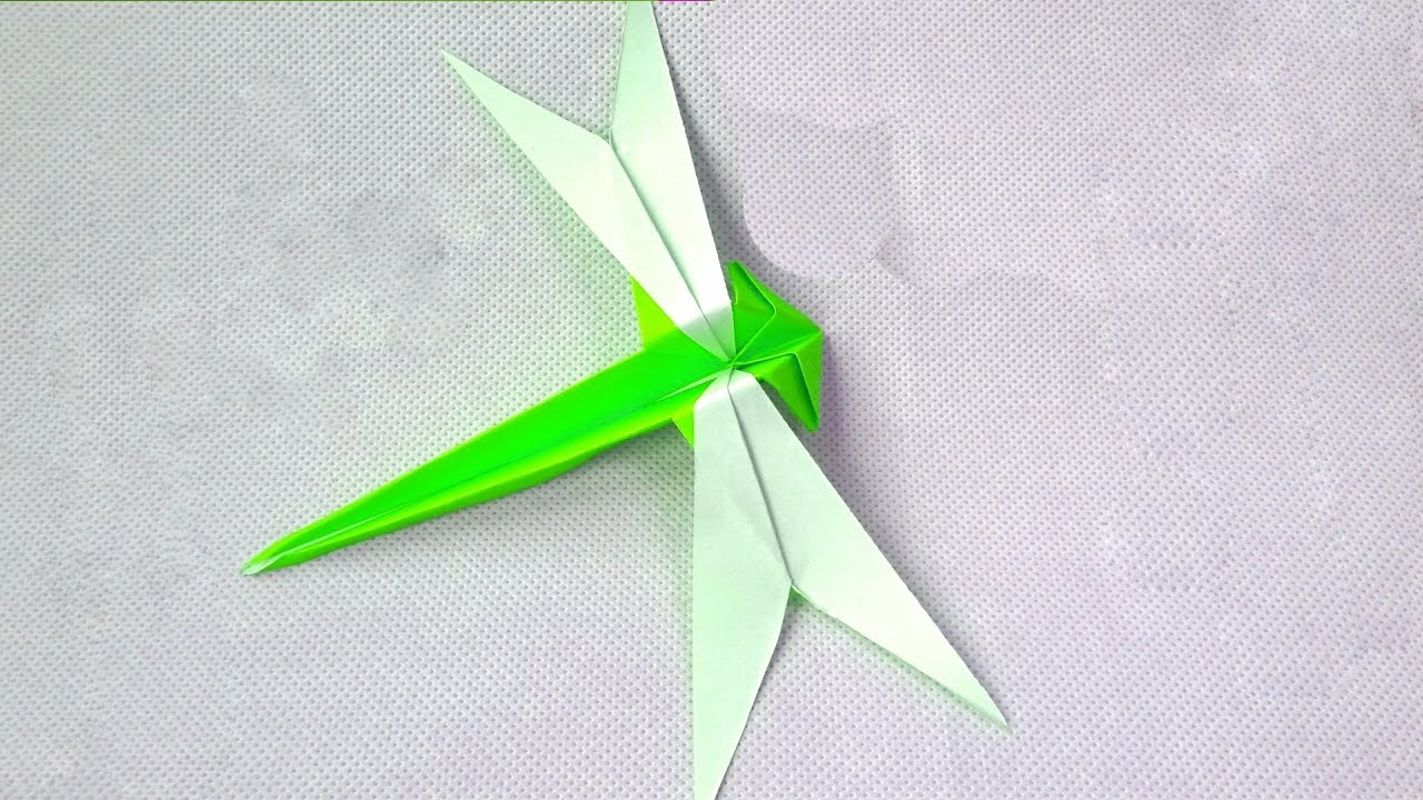 TUTORIAL ORIGAMI ANIMALS | How to fold an Easy origami DRAGONFLY ... | 720x1280
