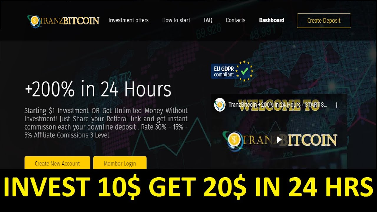 TRANZ BITCOIN  - NEW 100% PAYING HYIP SITE - 200% AFTER 24 HOURS - MINIMUM DEPOSIT 1$