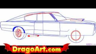 How to draw a dodge charger, step by step