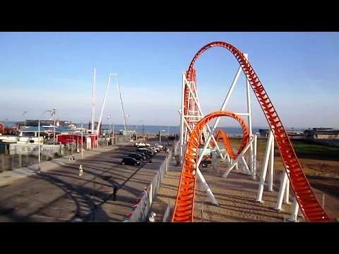 Thunderbolt front seat on-ride HD POV Luna Park, Coney Island NYC